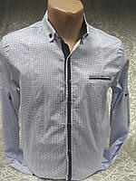 Рубашка мужская притал.GPORT белая в мелкий синий рис.(M,,XL), фото 1