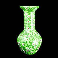 Ваза керамическая авторский дизайн ручная роспись Гипсофила зеленая большая 9695