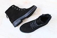 Женские ботинки, на низком ходу, черные, из натурального нубука, на шнурках, на байке