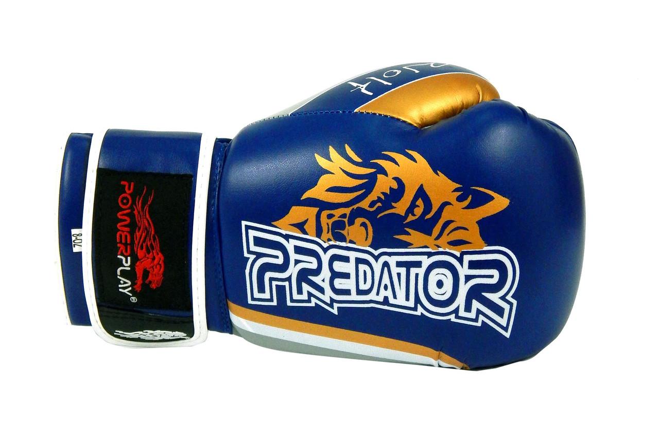 Перчатки боксерские Powerplay 3005 / WOLF /PU / blue 8oz