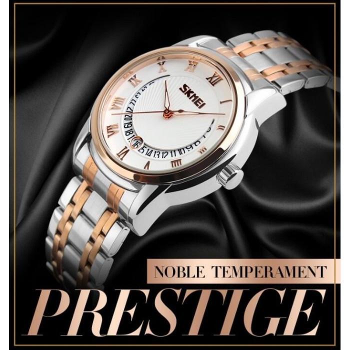 Мужские классические часы Skmei 9122 белый с золотистым