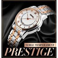 Мужские классические часы Skmei 9122 белый с золотистым, фото 1