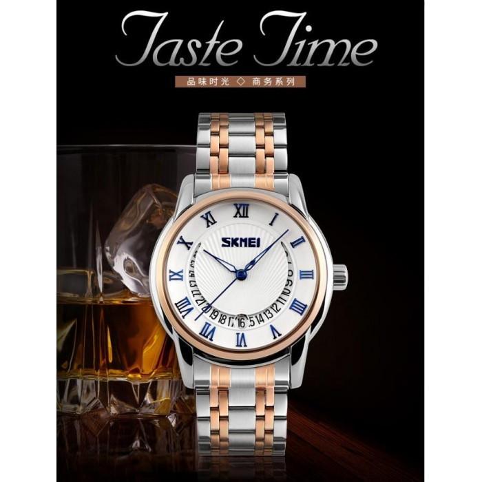 Мужские классические часы Skmei 9122 белый с голубым