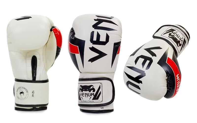 Перчатки боксерские FLEX на липучке VENUM ELITE BO-5338 (р-р 10-12oz, цвет в ассортименте)Z