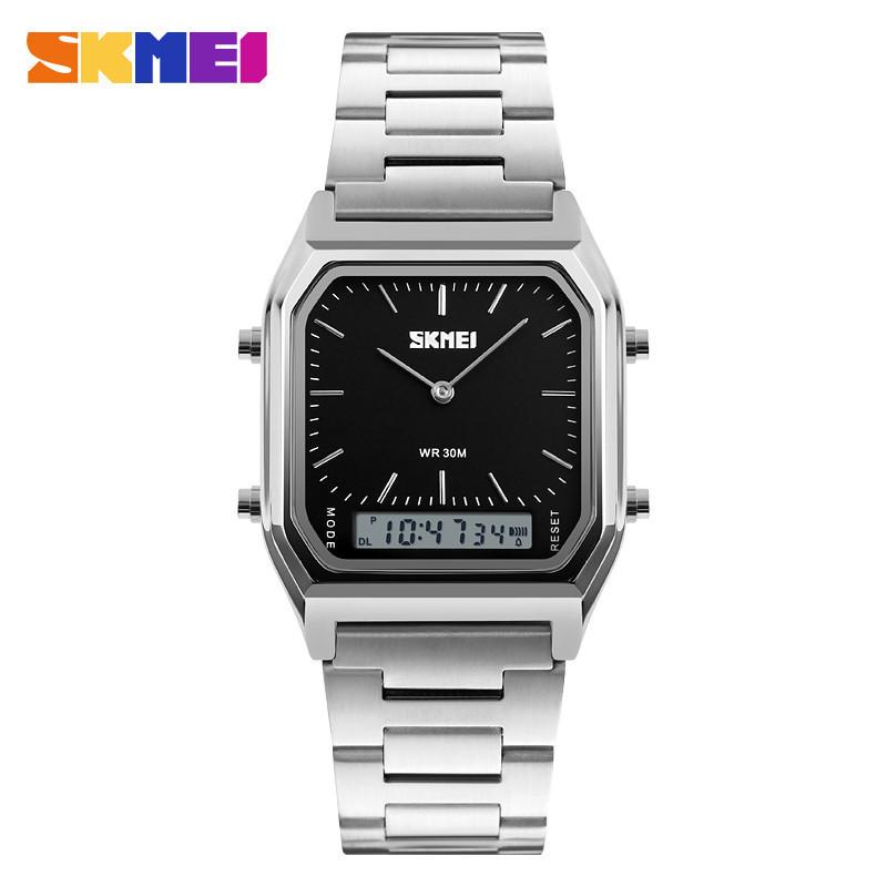 Мужские классические часы Skmei 1220 серебристый с черным