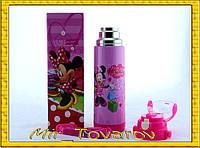 Термос детский 0,5 л с Микки и Минни, голубой или розовый