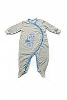 Комбинезон-человечек летний Модный карапуз 303-00021-0 серый с голубым 62