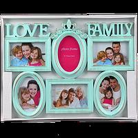 Семейная мультирамка с надписью на 6 фотографий