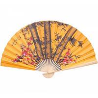 Веер с рисунком Бамбук с сакурой настенный на оранжевом фоне