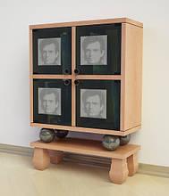 Шкаф Ш83 для виниловых пластинок из натурального дерева и мрамора