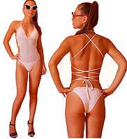 Белый вязаный крючком слитный купальник монокини - тренд пляжного сезона