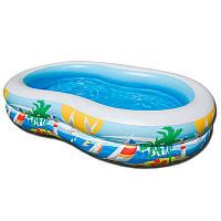 Детский надувной бассейн Intex 56490  овальный, 2 кольца 262-160-46 см, 572 л, 5 кг