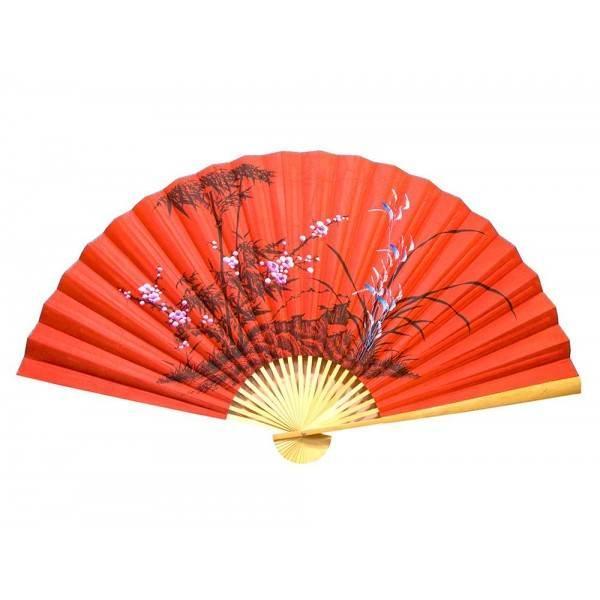 Настенный веер Бамбук с сакурой на красном фоне