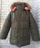 Куртка зимняя на мальчика 116-140 см, возраст 5,6,7,8,9 лет. Хаки