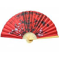 Красный веер на стену Сакура с бамбуком шелк