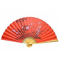 Веер настенный шелковый Сакура с бамбуком