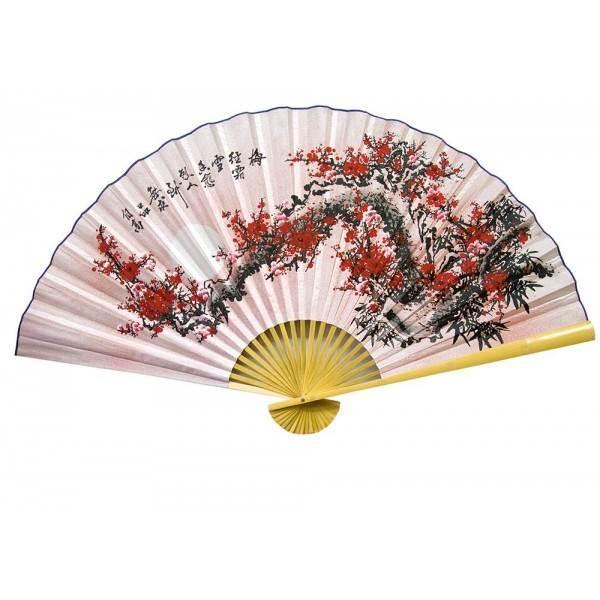 Настенный веер шелковый Сакура на розовом фоне