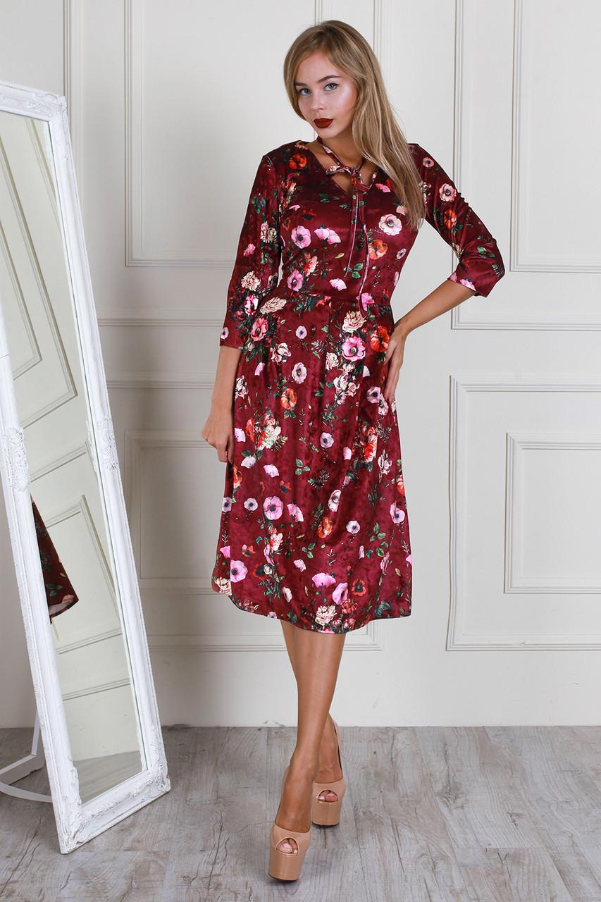Красивое стильное платье из велюра с пышной юбкой - Exclusive в Хмельницком