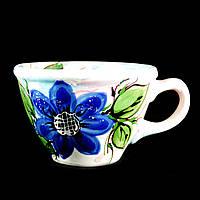 Чашка керамическая авторский дизайн ручная роспись Ромашка синяя 500мл 9716