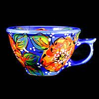 Чашка керамическая авторский дизайн ручная роспись Мак синяя 500мл 9717