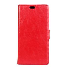Чехол книжка для LG Q6 M700 боковой с отсеком для визиток, Гладкая кожа Premium, Красный