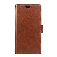 Чехол книжка для LG Q6 M700 боковой с отсеком для визиток, Гладкая кожа Premium, Коричневый