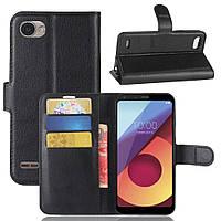Чехол книжка для LG Q6 M700 боковой с отсеком для визиток, Черный