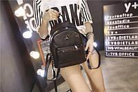 Женский рюкзак мини городской черный с заклепками
