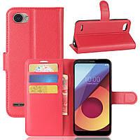 Чехол книжка для LG Q6 M700 боковой с отсеком для визиток, Красный