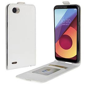 Чехол книжка для LG Q6 M700 вертикальный флип с отсеком для визиток, Белый