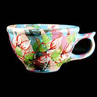 Чашка керамическая авторский дизайн ручная роспись Роза чайная синяя 500мл 9726
