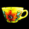 Чашка керамическая авторский дизайн ручная роспись Мальва желтая 500мл 9733