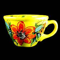 Чашка керамическая авторский дизайн ручная роспись Мальва желтая 500мл 9733, фото 1
