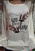 Батник в полоску с надписью женский полубатальный, фото 1