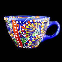 Чашка керамическая авторский дизайн ручная роспись Одуванчик синяя 500мл 9735