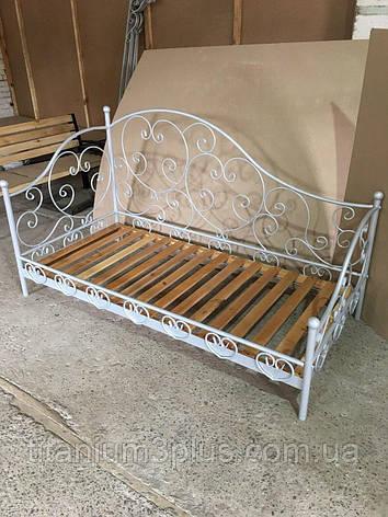 Кровать кованная, ламели натуральное дерево, фото 2