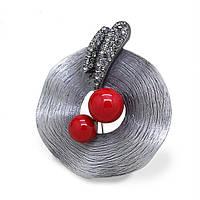 Брошь Шляпа винтаж искусственный жемчуг под старинное серебро