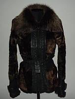 Кожаная куртка из овчины с тосканой дубленка р.s-м