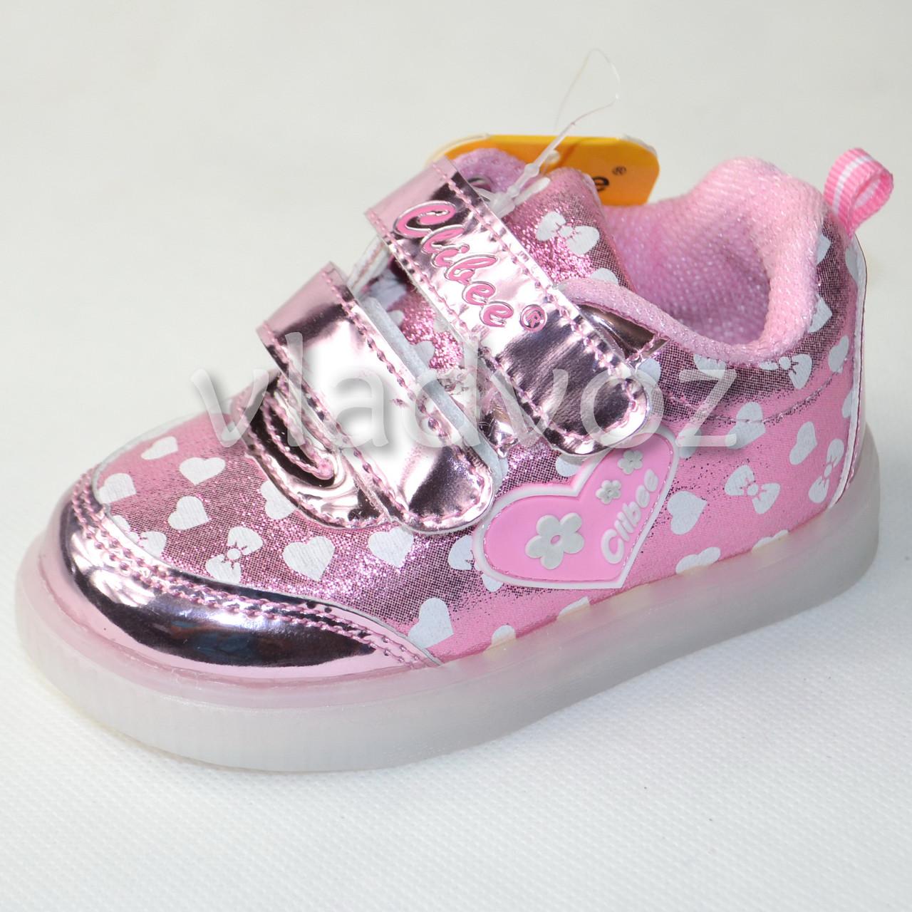 Детские светящиеся кроссовки с led подсветкой для девочки розовые Clibee 21р.