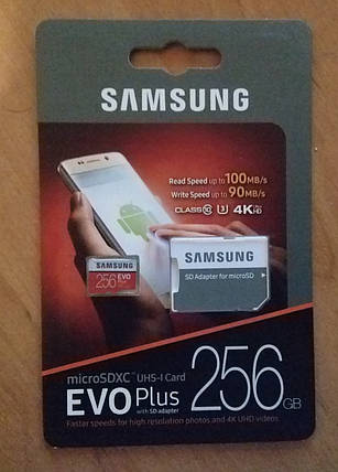 Карта памяти Samsung 256 GB microSDXC Class 10 UHS-I U3 EVO Plus + SD Adapter MB-MC256DA, фото 2