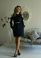 Осенние платье с вырезом на рукавах