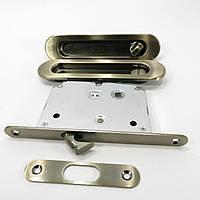 Ручка для раздвижных дверей с фиксатором USK AB (старая бронза)