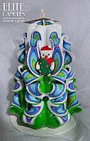 Новогодняя резная свеча  со снеговиком из полимерной глины