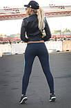 """Лосини для спорту """"Грація"""" (темно-синій, бірюзовий), фото 3"""