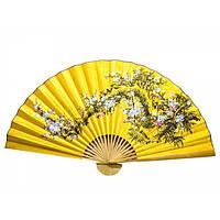 Веер настенный желтый Сакура с бамбуком