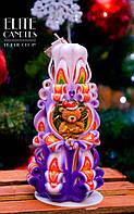 Новорічна різьблена свічка з новорічним мишком