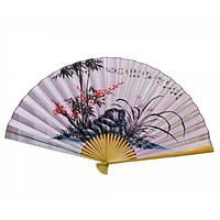 Веер настенный шелк Сакура с бамбуком
