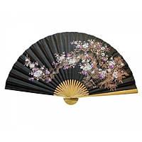 Черный веер на стену Сакура с бамбуком