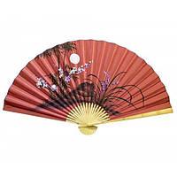 Веер красный для украшения стены Сакура с бамбуком