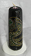 Черная свеча с точечной росписью змеи от мастерской свечей ELITE CANDLES